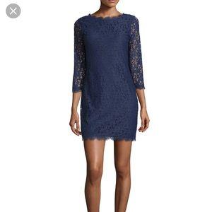 DIANE VON FURSTENBERG Blue Crochet LaceSheath Dres